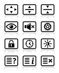 Computer tv monitor screen icons set