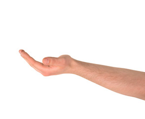 Outstretched open palm gesture isolated
