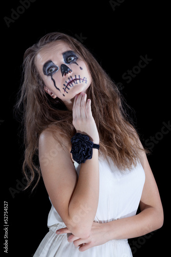 girl,  halloween face art