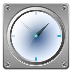 Vector analog clock on metal plate