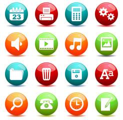 Set icônes bureau sphères quadricolor