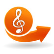 musique sur bouton web orange