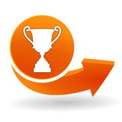 victoire sur bouton web orange