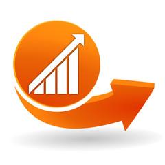 statistiques en hausse sur bouton web orange