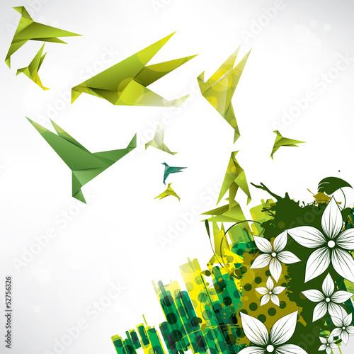 origami-papierowy-ptak-na-abstrakcjonistycznym-tle