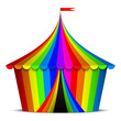 Vector illustration of colorful circus tent