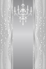 Vector silver frame with chandelier
