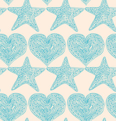 Bright blue seamless pattern with hearts and stars
