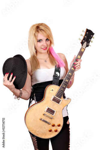 girl with hat and electric guitar