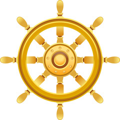 gold ship wheel