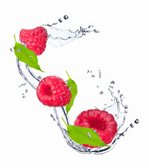 Water splash with raspberry