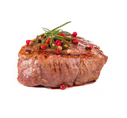 Grilled steak isolated on white background