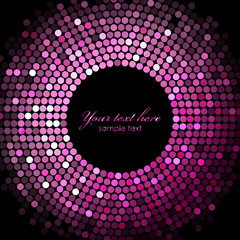 Vector pink disco lights on black background