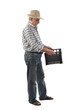 a worker carries a plastic box