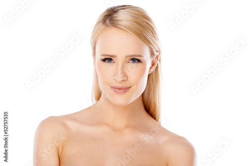 Adorable young woman over white
