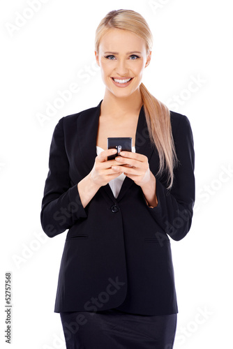 Happy business woman using cell phone