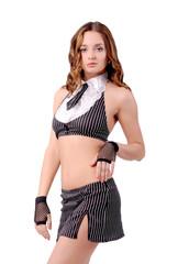 девушка в наборе белья с галстуком и юбкой