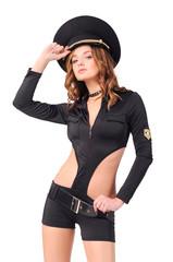 девушк в костюме, стиль - милиция