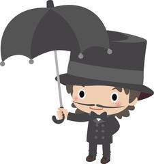 こうもり傘をさす紳士