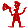 man with loudspeaker.Vector red silhouette on white