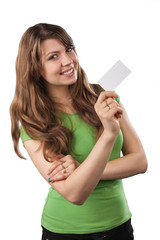 Young woman showing a business card.