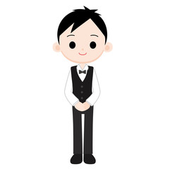 黒いベスト 蝶ネクタイの制服の男性店員