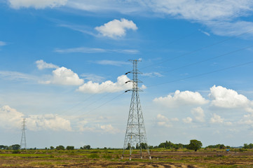 High voltage power pylons in the countryside