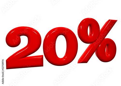 20 percent in red letters on a white background
