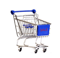 Shopping cart on white a background.