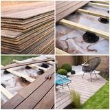 Fototapety Collage construction d'une terrasse en bois