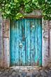 Leinwandbild Motiv Porte bleue dans un village turc