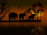 Elephants silhouette in africa near water