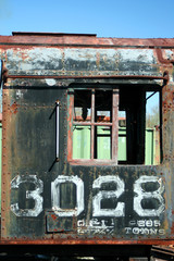 Old rusty train locomotive