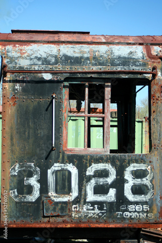 Old rusty train locomotive