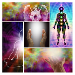 Angel healing hands collage