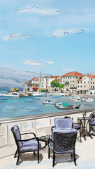 Croatia town street - illustration