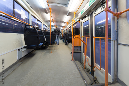 Inside view of a moving bus.