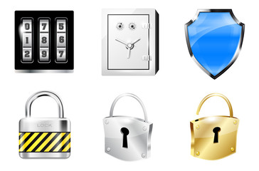 Six icons in metal shiny style - security concept
