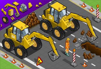 Isometric Yellow Excavator in Front View