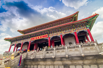 Chinese temple, Wat Leng-Noei-Yi against blue sky