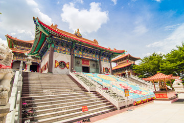 Chinese temple with blue sky and cloud