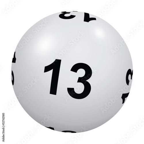 Loto, boule blanche numéro 13