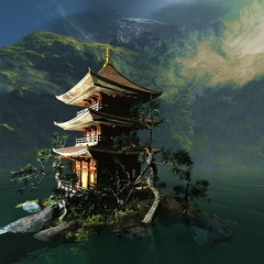 Buddhist temple in the mountains