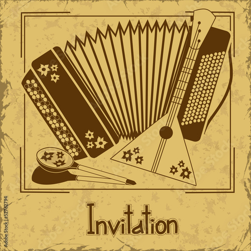 Invitation with folk musical instruments