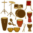 Isolated icons of drum kit and percussion