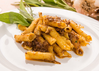Maccheroni al pettine con ragù di selvaggina, close-up