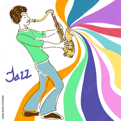 Poster with musician playing saxophone