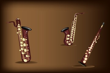Three Retro Saxophone on Dark Brown Background