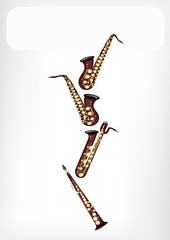 Different Kind of Saxophone with A White Banner