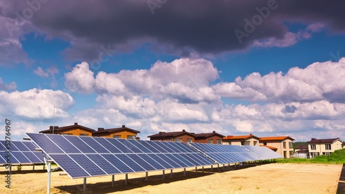 solar panels and modern village